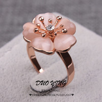 OPAL FERRIE -  Rose Gold Filled Sweet Orange Opal Flower Ring