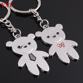 2PCS Double Lovely Teddy Bear Metal Couples Lover New Charm Pendant Key Ring Chain Keyfob Personality Favorite Collection