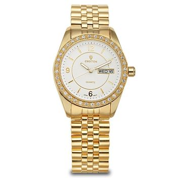 Croton Womens Stainless Steel Goldtone Crystal Bezel Watch
