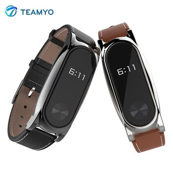Mijobs Leather Strap For Xiaomi Mi Band 2