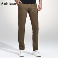 Anbican Fashion Khaki Casual Pants Men 2017 Spring Brand New Leisure Business Slim Trousers Mens Cotton Work Chinos Dress Pants