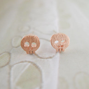 tiny pink skull earrings by LemonTreeLand on Etsy