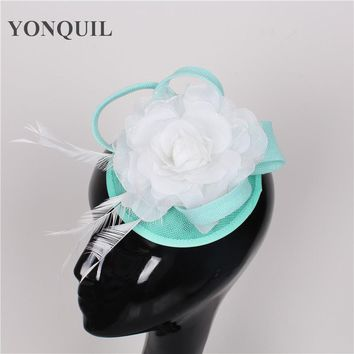 NEW ARRIVAL 17color emerald green sinamay fascinators hats cocktail hats wedding headwear Derby hair accessories for women SYF72