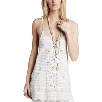 Free People Womens Seafaring Embroidered Lace-Up Back Tank Top