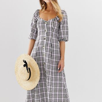 ASOS DESIGN button through maxi dress in check | ASOS