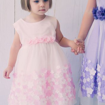 Light Pink Satin Tulle Overlay Dress with Dimensional Taffeta Flowers  (Baby Girls)