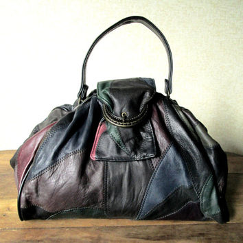 Doctor Bag frame handbag faux leather patchwork hipster purse top handle black brown burgundy green blue medium large vintage 80s 90s