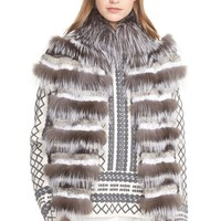 Women's Tory Burch Stripe Genuine Rabbit & Fox Fur Vest,