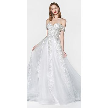 Off The Shoulder Lace A-Line Tulle Gown Off White Long Lace Up Back