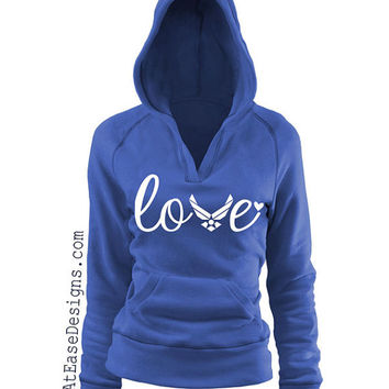 Air Force Love - pullover Vneck hoodie.veteran usmc navy army usaf milso wife girlfriend AtEaseDesigns