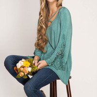 Long Sleeve Enzyme Washed Top