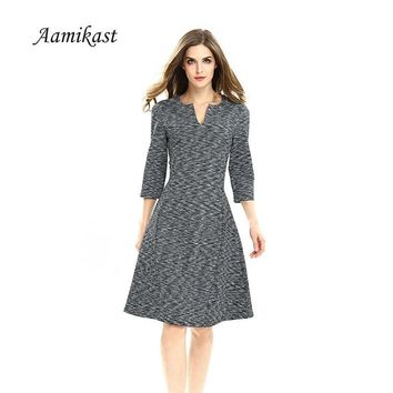 AAMIKAST New Fashion Elegant Vintage V-neck 3/4 Sleeve A -Line Bodycon Sheath Women Dresses D0624 S M L XL 2XL 3XL 4XL