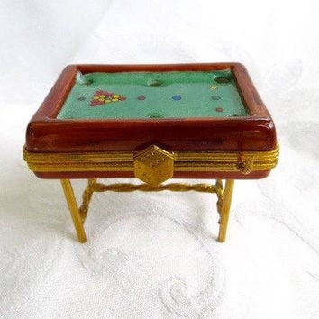 Limoges Box, Snooker Pool Table, Billiard Box, Limoges FRANCE, Collectible Boxes, Vintage Authentic