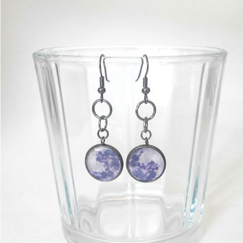 Full Moon, Dangle Earrings, Space, Nerd, Cosmic, Galaxy, Out of this World, Science, Geek, Grey, Gunmetal, Fashion, Pretty