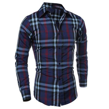 Streetstyle  Casual Turn Down Collar Plaid Men Shirt