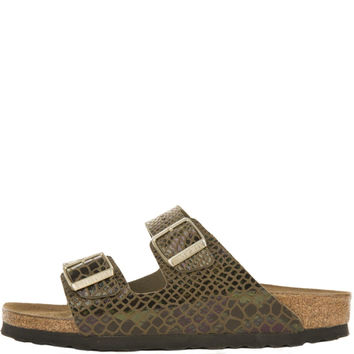 Birkenstock for Women: Arizona Shiny Snake Olive Birko-Flor Sandals