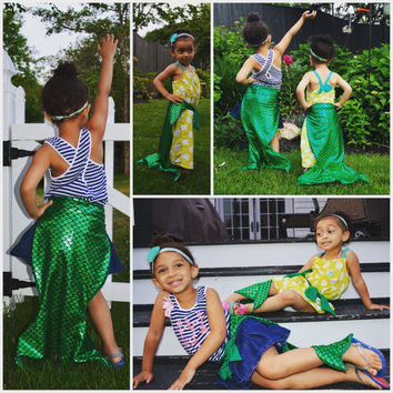 Children's Mermaid Tail Toddler kid's Mermaid Costume Set headband, Costume, Little girls mermaid halloween trending Kardashian fall fashion