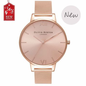 Ladies watch OLIVIA BURTON fashion simple English fresh stainless steel mesh belt quartz watch.