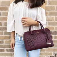 Kate Spade Cameron Street Perforated Large Lane Satchel Crossbody Deep Plum