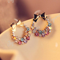 New Shining Colorful Rhinestones Gold Bowknot Ear Stud Earrings Wholesale FJ62