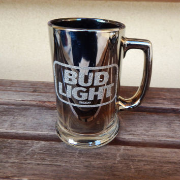 "Budweiser Bud Light Glass Beer Mug Smoked Silver 1987 5.5"" Tall Anheuser Busch"