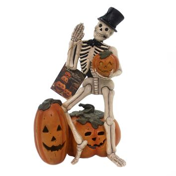 Halloween WAVING SKELETON Polyresin Pumpkins Td7624