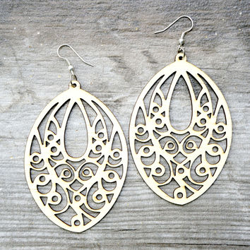 Wood Carved Chandelier Earrings