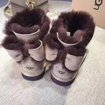 UGG Fashion Winter Women Bowknot Flat Warm Snow Ankle Boots G
