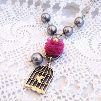 Bird cage Necklace, Bird Cage with Bird, Gray Pearl, Bridesmaids Gifts, Bridesmaid necklace, Violet Rose, Vintage style, Gray Pearl Necklace