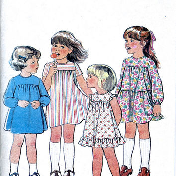 Maudella New Look 6100 - Toddler / Child's Dress Pattern - 1970's Vintage Sewing Pattern - Multi Size
