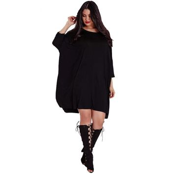 Casual Plus Size Black Solid Loss Three Quarter Batwing Sleeve Soft Dress