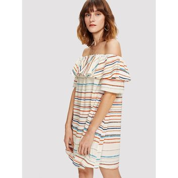 Multicolor Off Shoulder Short Sleeve Striped Shift Dress