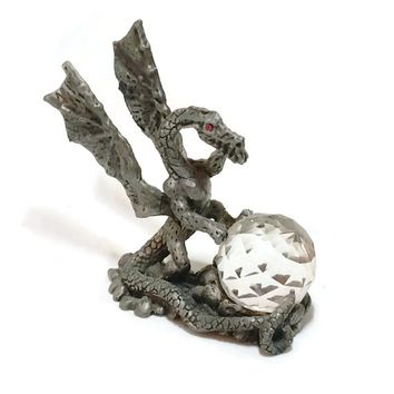 Mystic Pewter Dragon Guard, Red Eyed Guard Dragon, Fantasy Collectible, Gifts for Gamers, Game of Thrones, Pewter Dungeons and Dragons