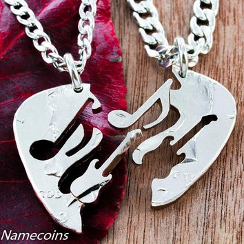 Guitar Pick Interlocking Necklaces with Music Note and Guitar, Hand Cut Coin by Namecoins