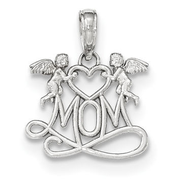 14K White Gold Polished Mom Below Two Angels Pendant K5201