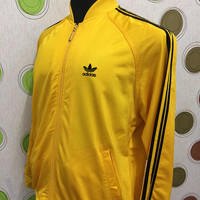 Vintage Adidas Yellow Black Stripe Track Top Sportwear Jacket
