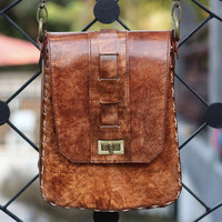 Handmade Leather Purse - Brown Leather Satchel - Full Grain Cowhide Leather / Hand Bag / Hip Bag / Shoulder Bag