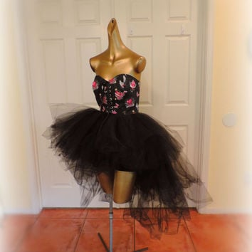 adult tutu dress, black high low tutu dress, goth gothic clothes, steampunk tutu dress, pin up girl clothes, high low tutu