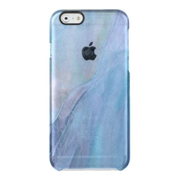 Blue Purple Faux Stained Glass Watercolor Pattern Uncommon Clearly™ Deflector iPhone 6 Case