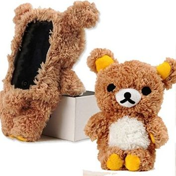 EveryOne-Buy Stylish Cute 3D Teddy Bear Doll Toy Plush Case Cover For Apple iPhone 6 4.7 inch iPod Touch 4 iPod Touch 5 iPhone 5S/5/5C/4S/4 Brown (Brown for iPhone 5C)