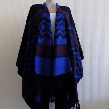 Oversize poncho,Black Cape,Tribal Poncho Outerwear,black blue Coat Women Clothing Fashion Accessories Women Wear Aztec Poncho Ethnic Poncho
