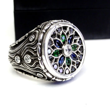 Men's Custom 14 K White Gold Mosaic Ring With White and Black Diamonds Blue Sapphires