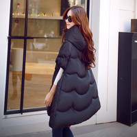 Girls winter spring fashion women genuine jacket big star with big yards thick winter pregnant warm cape coat padded