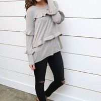 Taupe Knitted Top W/ Ruffle Detail