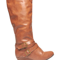 Buckled Up Demi Wedge Boots | Wet Seal