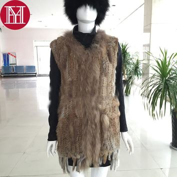 2017 women natural real rabbit fur vest with raccoon fur collar fur gilet winte genuine rabbit fur knitted coat free shipping