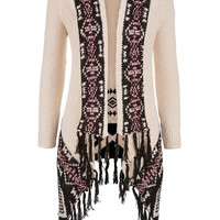 blanket cardigan with fringe in ethnic pattern