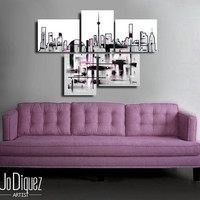 "Made to order. Original abstract painting. 5 piece canvas art. 29x41"" Large painting of Toronto's skyline. Modern wall art. Skyline painting"