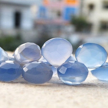 Periwinkle Blue Chalcedony Briolette Gemstone Faceted Heart Top Drilled 12mm 17 beads
