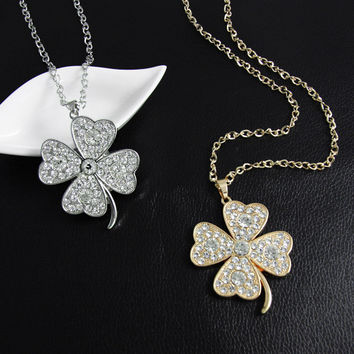 Rhinestone Clover Necklace, 2 Colors to Choose From!